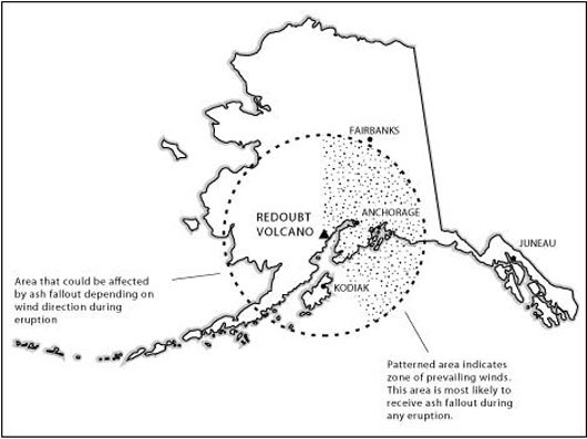 Area Likely To Be Affected By Volcanic Ash Fallout From Eruptions Similar To The 1989 90 Eruption Of Redoubt Volcano Figure From Waythomas C F Dorava